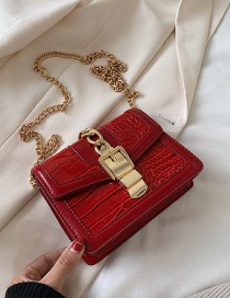 Fashion Red Stone Tie Stitch Single Shoulder Bag