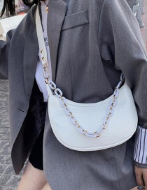 Fashion White Stone Chain Single Shoulder Bag