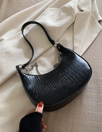 Fashion Black Crocodile Pattern Chain Shoulder Bag