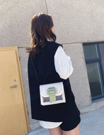 Fashion White Color Matching Spliced Shoulder Bag