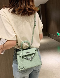 Fashion Green Stone Print Smiley Face Pendant Handbag Shoulder Bag