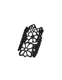 Fashion Black Alloy Hollow Flower Opening Ring