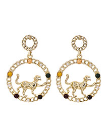 Fashion Golden Alloy Chain Leopard Circle Ear Earrings