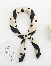 Fashion Beige Dot Printing Silk Imitation Scarf Small Scarf Multi-purpose Use