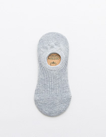 Fashion Light Grey Vertical Striped Cotton Stealth Boat Socks