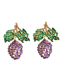 Fashion Violet Alloy Diamond Earrings