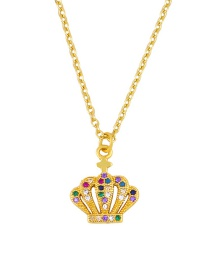 Fashion Crown Gold Micro-set Color Zircon Cross Crown Necklace