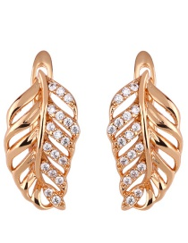 Fashion Golden Hollow Leaf Earrings With Genuine Gold-plated Diamonds