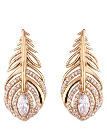 Fashion Golden Micro-set Zircon Feather Earrings
