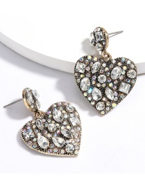 Fashion White Multilayer Love Heart Diamond Earrings