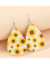 Fashion White Sunflower Litchi Print Water Drop Pu Leather Sunflower Flower Butterfly Earrings