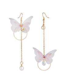 Fashion White Asymmetrical Butterfly Pearl And Crystal Round Earrings