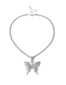 Fashion White K Single Paw Chain Diamond Necklace With Large Butterfly Alloy