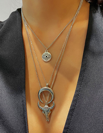 Fashion White K Eye Bull Head Crescent Multilayer Necklace