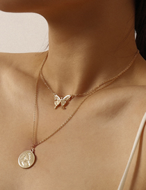 Fashion Golden Hollow Portrait Contour Linen Butterfly Pendant Necklace