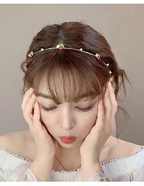 Fashion Cherry Drop Oil Fruit Pearl Alloy Finely Edged Hair Band