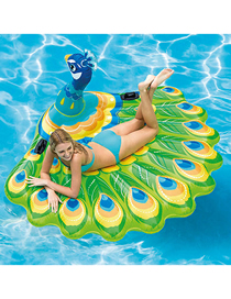 Fashion Color Peacock Water Animal Inflatable Mount Floating Bed
