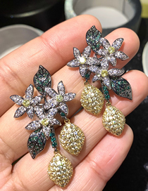 Fashion Color Flower Micro-set Zircon Alloy Contrast Color Earrings