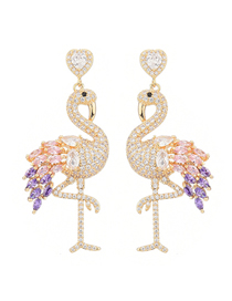 Fashion Purple Flamingo Micro-set Zircon Love Alloy Earrings