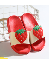 Fashion Big Strawberry Fruit Animal Contrast Color Soft Bottom Slippers