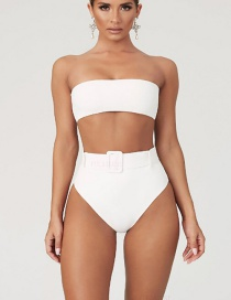 Fashion White High Waist Tube Top Blue And White Porcelain With Belt Split Swimsuit