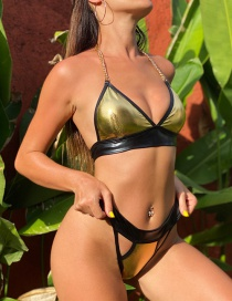 Fashion Golden Leather Split Swimsuit With Stitching Metallic Chain Strap