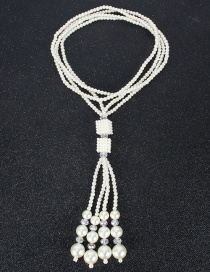 Fashion Rice White Multi-layer Pearl Geometric Crystal Necklace