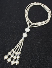 Fashion Rice White Knotted Pearl Crystal Geometric Multilayer Sweater Chain