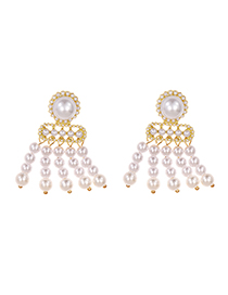 Fashion Golden Alloy Pearl Tassel Earrings