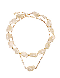Fashion Golden Alloy Geometry Pearl Double-layer Necklace