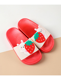 Fashion Strawberry Rabbit Fruit Animal Hit Color Non-slip Soft Bottom Word Children Slippers