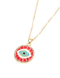 Fashion Red Zircon Dripping Oil Full Diamond Round Eye Necklace
