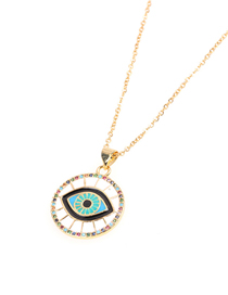 Fashion White Zircon Dripping Oil Full Diamond Round Eye Necklace