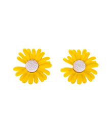 Fashion Yellow Daisy Alloy Earrings With Flowers And Diamonds