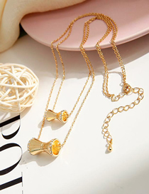 Fashion Golden Diamond Multilayer Necklace With Small Waist Alloy