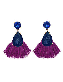 Fashion Blue + Purple Alloy Diamond Drop Tassel Earrings