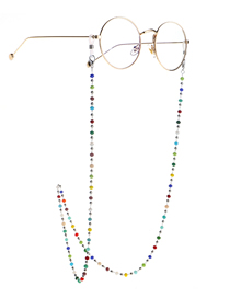 Fashion Silver Colorful Crystal Steel Ball Stainless Steel Chain Anti-skid Glasses Chain
