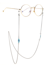 Fashion Silver Stainless Steel Chain Turquoise Eye Non-slip Glasses Chain
