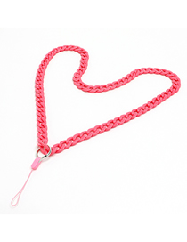 Fashion Pink Acrylic Solid Color Chain Hanging Neck Mobile Phone Chain