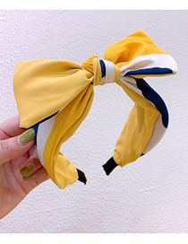 Fashion Yellow Splicing Contrast Color Bow Chiffon Wide-brimmed Headband