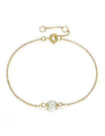 Fashion 14k Gold Fine-edged Bracelet With Pearl Chain