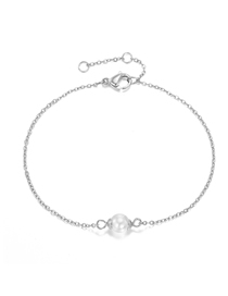 Fashion Steel Color Fine-edged Bracelet With Pearl Chain