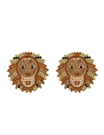 Fashion Brown Diamond-shaped Lion Alloy Geometric Earrings