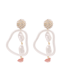 Fashion Pink Acrylic Pearl Earrings With Diamonds And Diamonds