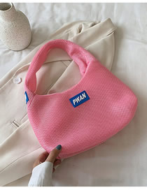Fashion Pink Wire Mesh Labeled Alphabet Shopping Bag