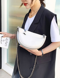 Fashion White Semi-circular Chain Shoulder Bag