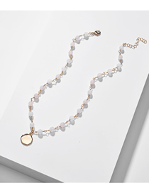 Fashion Pink White Natural Stone Beads Alloy Chain Necklace