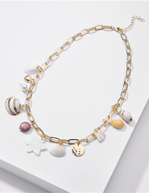 Fashion Golden Natural Shell Pearl Conch Alloy Necklace