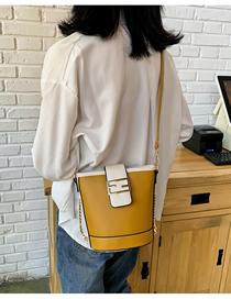 Fashion Yellow Wide Shoulder Strap Stitching Contrast Chain Single Shoulder Crossbody Bag