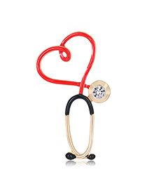 Fashion Love Diamond Drop Oil Alloy Contrast Color Stethoscope Brooch